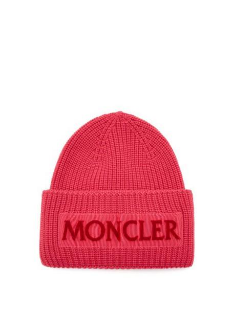 Moncler - Velvet Logo Wool Beanie Hat - Womens - Pink