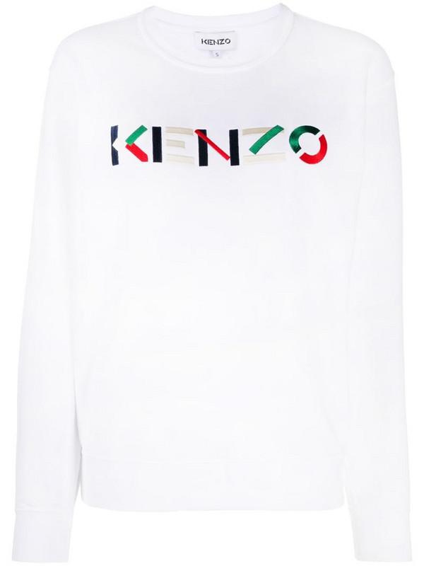 Kenzo logo-embroidered round-neck sweatshirt in white