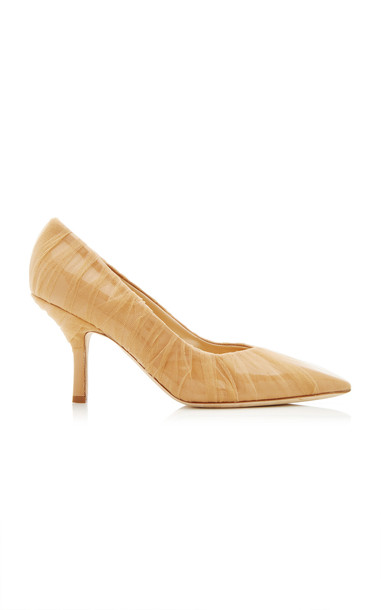 MIDNIGHT 00 Leather Tulle Pumps Size: 36 in neutral
