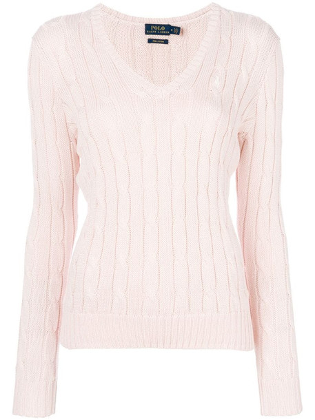 Polo Ralph Lauren V neck cable-knit jumper in pink