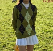 sweater,green,knitted sweater,checkered,y2k aesthetic,90s style,lacoste,vneck jumper,v neck,oversized sweater