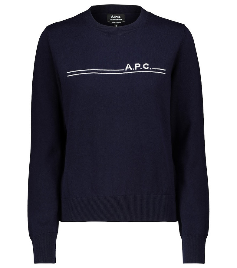 A.P.C. Eponyme cotton and cashmere sweater in blue