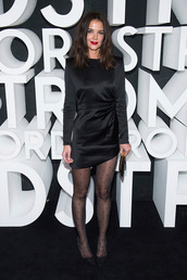 dress,katie holmes,celebrity,little black dress,mini dress,asymmetrical,asymmetrical dress,all black everything