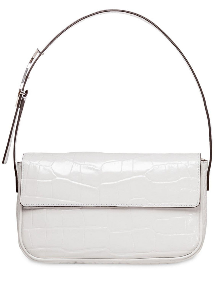 STAUD Tommy Croc Embossed Leather Shoulder Bag in white