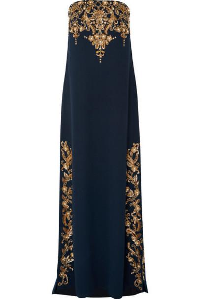 Oscar de la Renta - Strapless Embellished Wool-blend Gown - Navy
