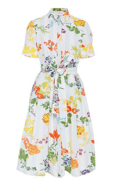 Carolina Herrera Floral-Print Belted Cotton-Blend Midi Shirt Dress in blue