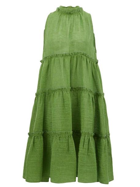 Lisa Marie Fernandez - Erica Tiered Linen-blend Midi Dress - Womens - Green