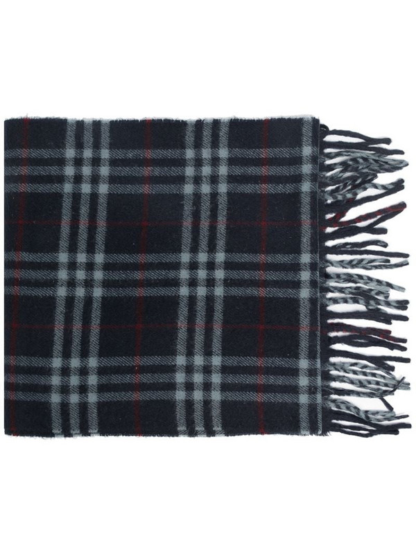 Burberry Pre-Owned plaid fringed scarf in blue