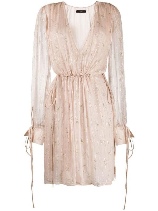 AMIRI floral print plunge dress in neutrals