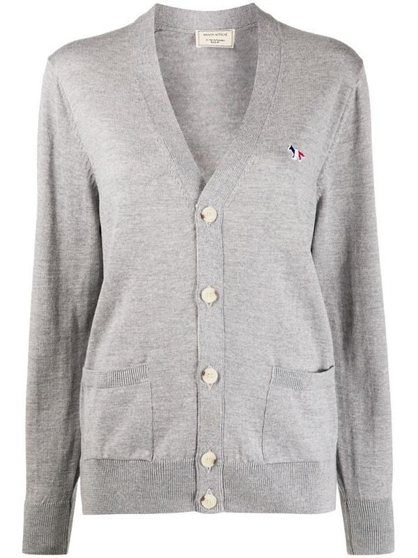 Maison Kitsuné V-neck embroidered logo cardigan in grey