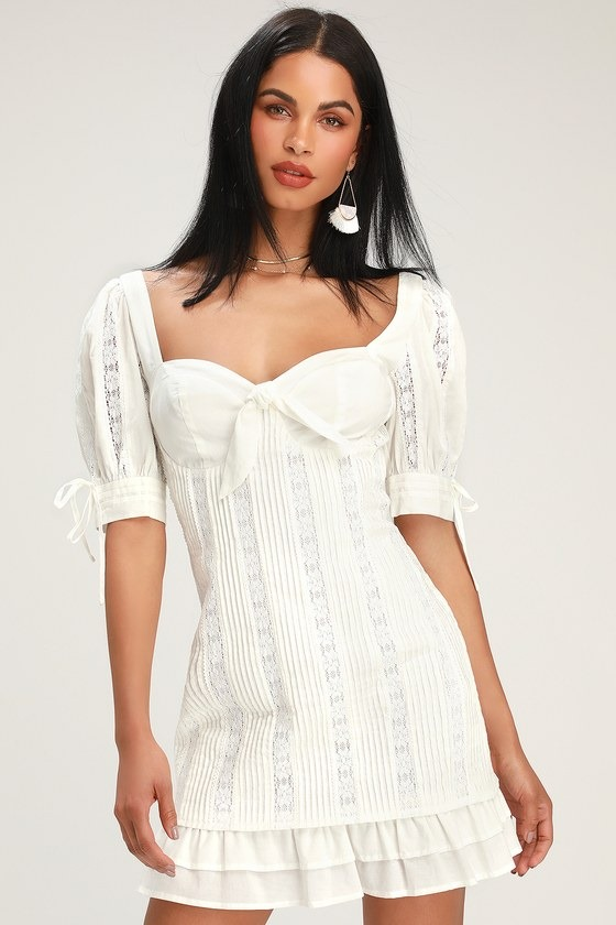 Ryleigh White Tie-Front Pleated Lace Mini Dress