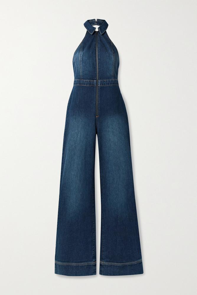 ALICE + OLIVIA ALICE + OLIVIA - Jersey-trimmed Stretch-denim Halterneck Jumpsuit - Blue