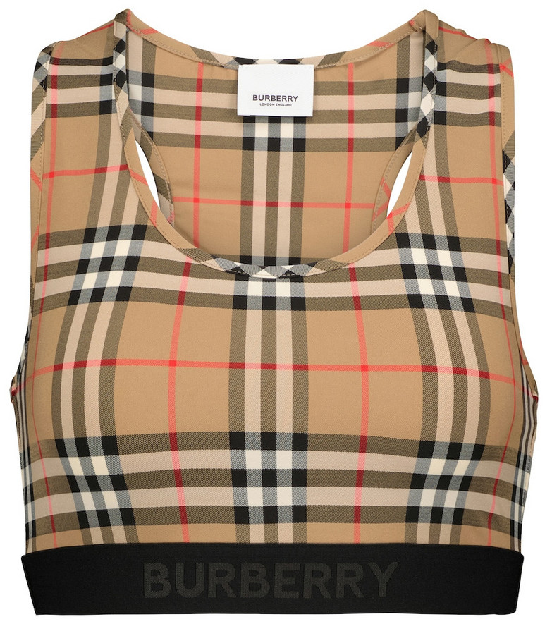 Burberry Vintage Check sports bra in beige