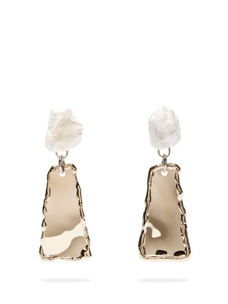 Proenza Schouler - Stone Hammered Clip Earrings - Womens - Grey