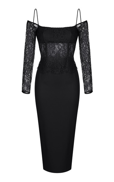 Rasario Cold-Shoulder Lace And Crepe Midi Dress in black