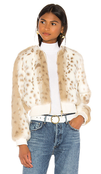 THE JETSET DIARIES Love Me Faux Fur Bomber Jacket in Ivory
