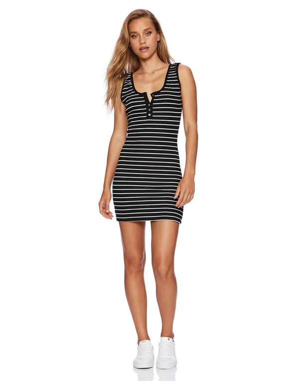 dress beach bunny shop ishine365 ishine365 bodycon dress mini dress black and white striped dress scoop neckline
