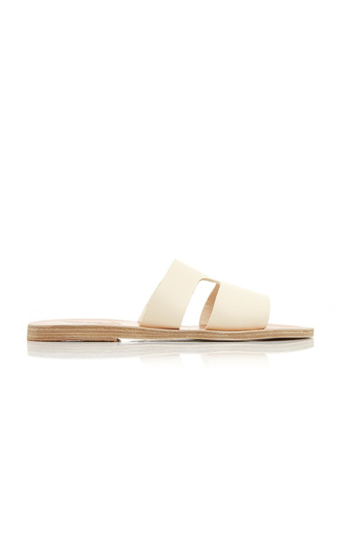 Ancient Greek Sandals Apteros Leather Sandals in white