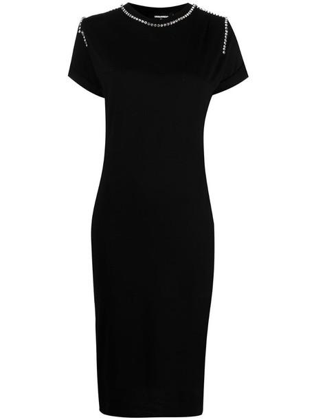 Dsquared2 crystal-embellished cotton dress in black
