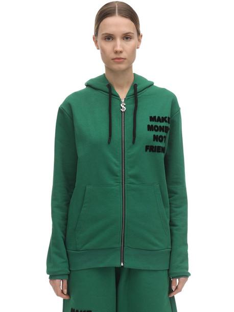 MAKE MONEY NOT FRIENDS Logo Zip-up Cotton Sweatshirt Hoodie in green