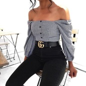 shirt,off the shoulder,stripes,checkered,checked shirt,long sleeves,gucci,gucci belts,black,white,blouse,black and white,belt,gucci belt,top