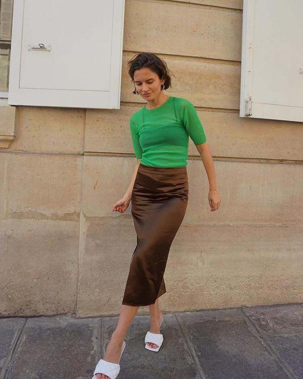 skirt midi skirt white sandals blouse