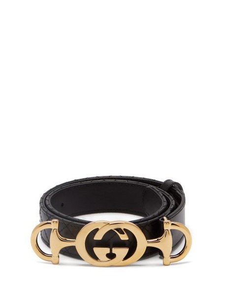 Gucci - Horsebit Buckle Quilted Leather Belt - Womens - Black
