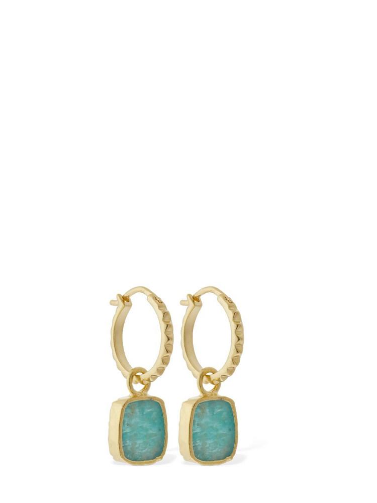 MISSOMA Amazonite Charm Pyramid Hoop Earrings in gold / green
