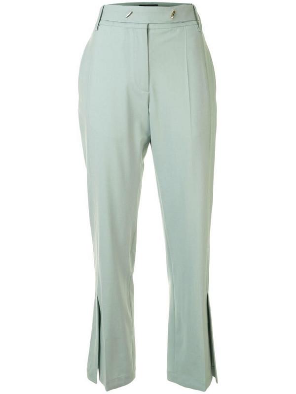 Eudon Choi split-hem flared trousers in green