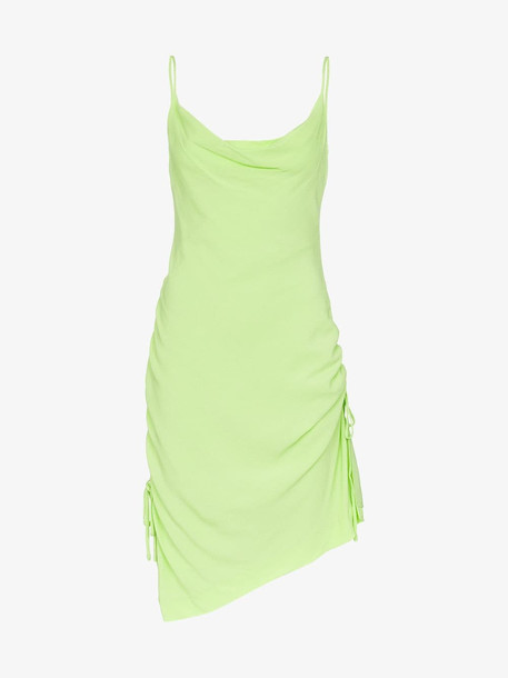 Staud spaghetti strap cowl neck dress in green