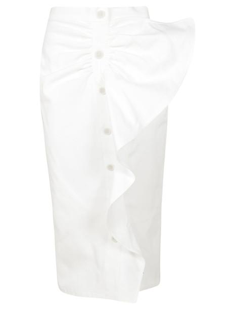 Max Mara Ruffled Pencil Skirt in bianco