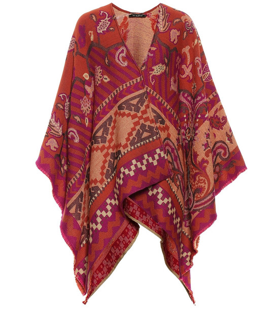 Etro Wool and cotton-blend poncho in red