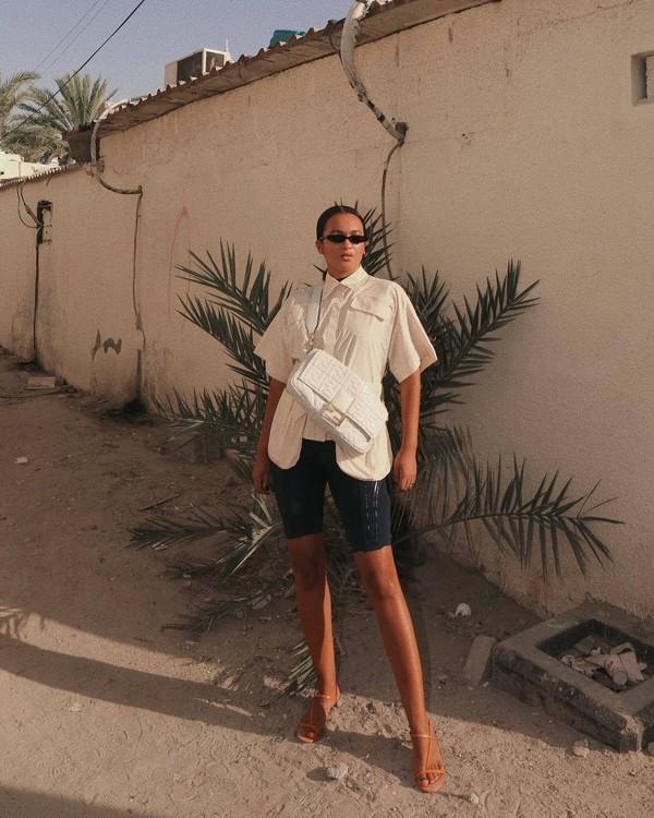bag white bag fendi black shorts white shirt sandals