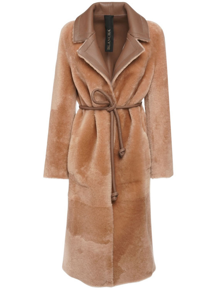 BLANCHA Reversible Shearling Coat in brown / beige