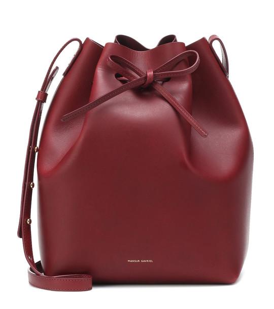 Mansur Gavriel Leather bucket bag in red