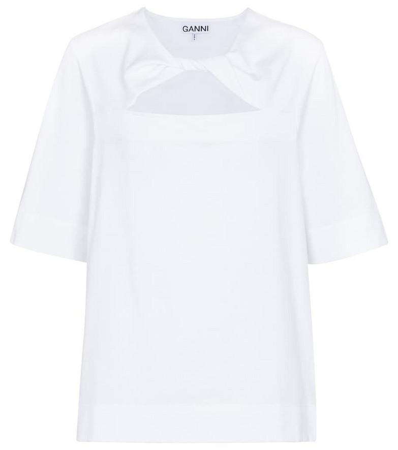 Ganni Cutout cotton jersey T-shirt in white