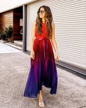 dress,maxi dress,pleated dress,sleeveless dress,multicolor,flat sandals,summer dress,sunglasses
