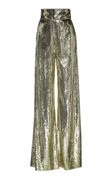 Dundas Sequined Tulle Wide-Leg Pants in gold