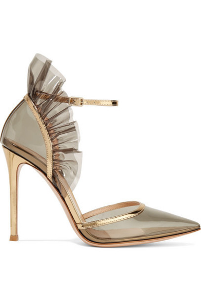 Gianvito Rossi - 105 Metallic Leather-trimmed Ruffled Pvc Pumps - Gray