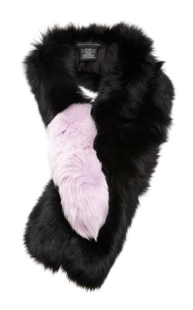 Charlotte Simone Popsicle Two-Tone Fur Scarf in black