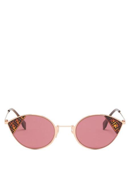Fendi - Ff Logo Print Cat Eye Metal Sunglasses - Womens - Red