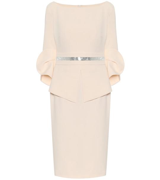 Safiyaa Stretch-crêpe midi dress in beige