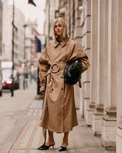 bag,black bag,trench coat,oversized coat,double breasted,mules