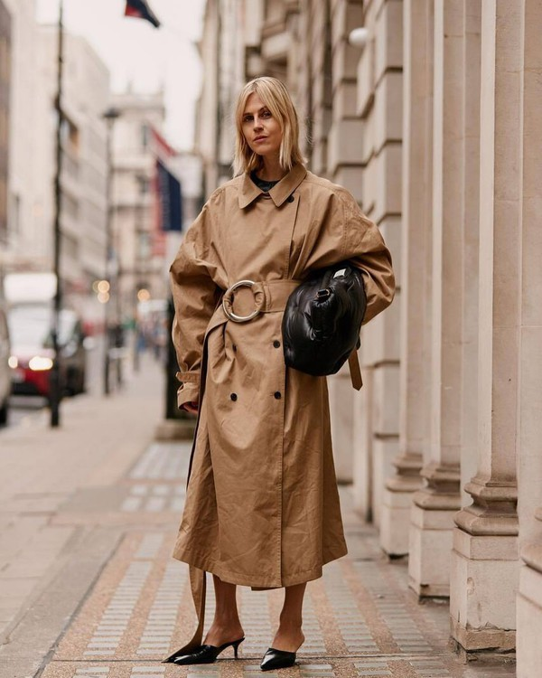 bag black bag trench coat oversized coat double breasted mules