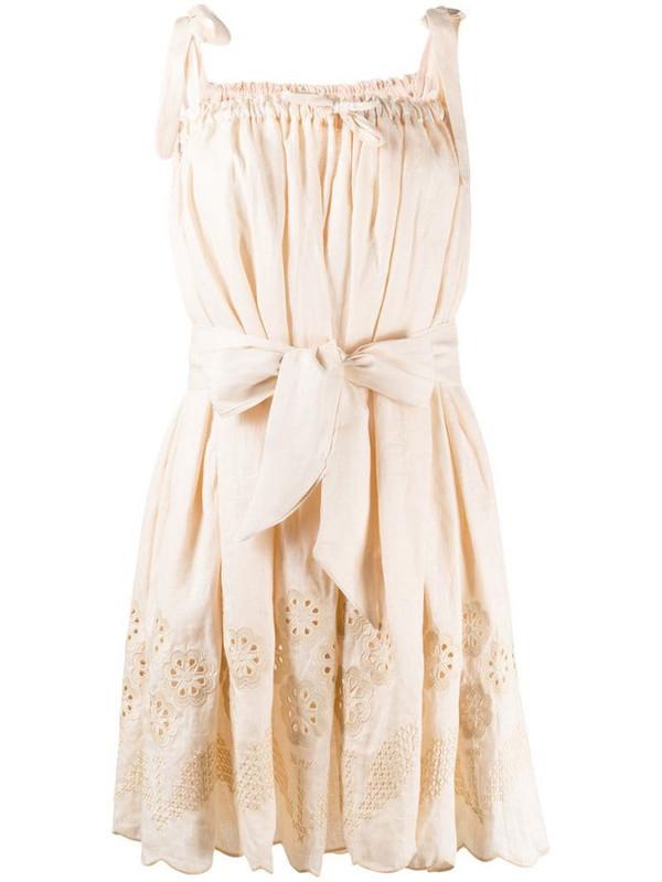 Innika Choo embroidered waist-tied dress in neutrals