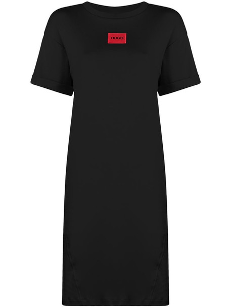 HUGO logo patch T-shirt dress in black