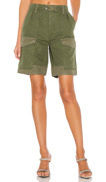 Citizens of Humanity Lily High Waisted Surplus Short in Olive in green