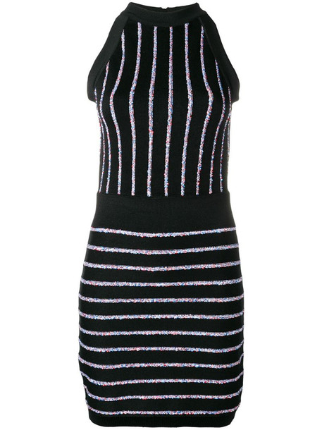 Balmain contrasting embroidered stripes dress in black