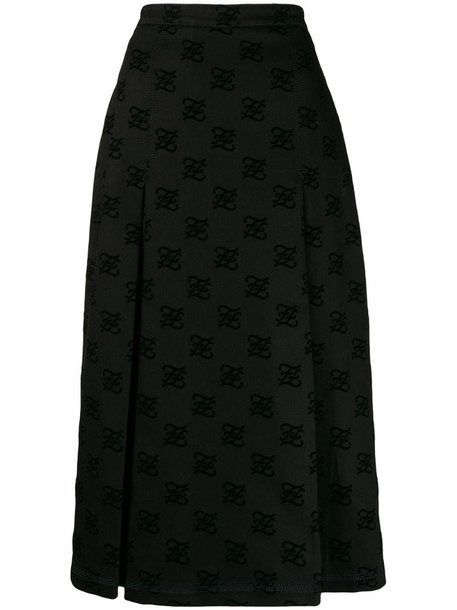 Fendi Karligraphy motif midi skirt in black