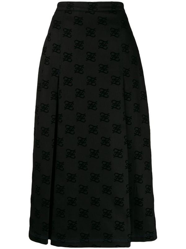 Fendi Karligraphy motif midi skirt in black